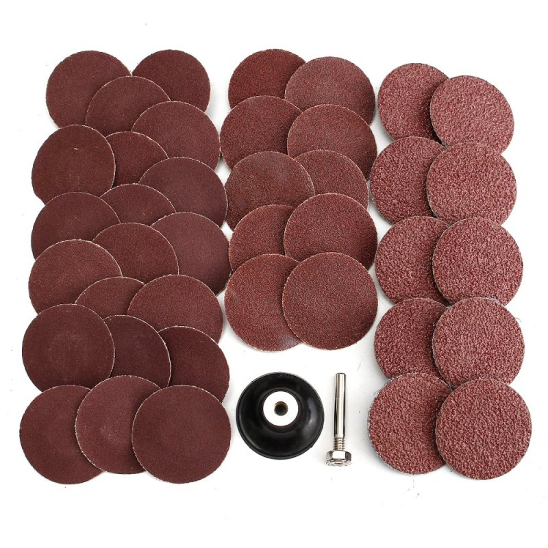 40Pcs 40/80/120/240 Grits 2 Type R Sanding Abrasive Disc W/ Mandrel Lock - intl