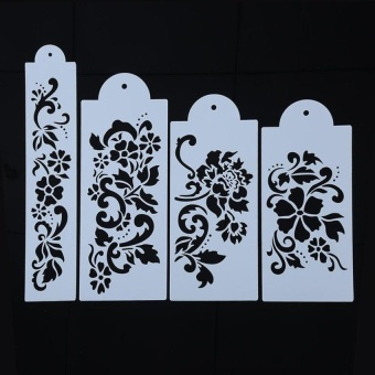 4Pcs Wedding Fondant Stencil Spray Paint Cake Lace Molds - intl
