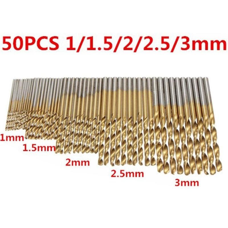 50 cái / 1 bộ HSS Công Cụ Mũi Khoan Phủ Titanium 1 / 1.5 / 2 / 2.5 / 3mm - intl