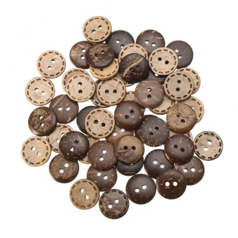 50 pcs 15mm 2-Holes DIY Circular Wooden Buttons Laser Marking WoodButton Clothing Accessories - intl