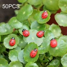 50 PCS Red Color Wooden Cabochons Ladybug For Decoration Wood Ladybug Decoration Crafts Micro-landscape Ornaments Accessories Multi-meat Ornaments - intl