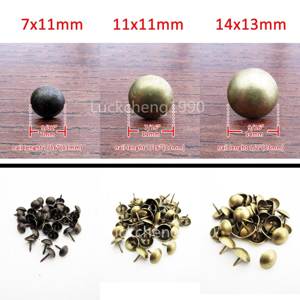 50/100X Antique Brass Upholstery Nail Jewelry Gift Box Sofa Decorative Tack Stud - intl