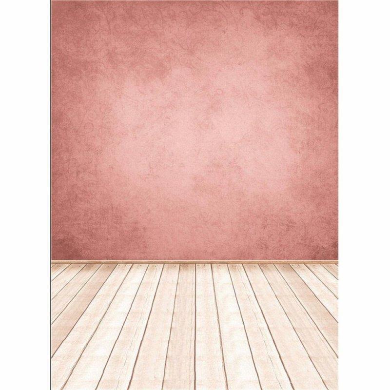 5x7ft Pink Wall Wooden Floor Vinyl Studio Background Props Photography Backdrops - intl