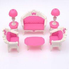 6 cái Hồng Đồ Nội Thất Phòng Khách Parlour Bộ Ghế Sofa cho Nhà Búp Bê Barbie Phụ Kiện-quốc tế