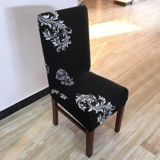 6Pcs Printing flower Spandex Stretch Dining Chair Cover Restaurant For Weddings Banquet Folding Hotel Chair Covering – intl