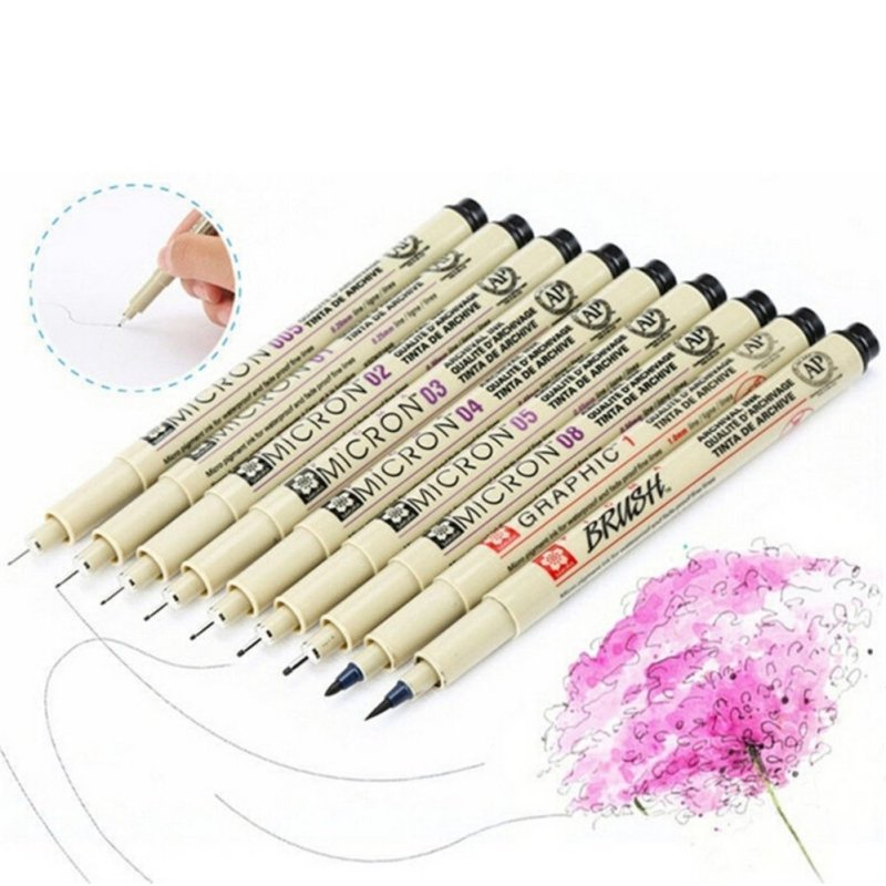 Mua 8x Pigma Manga Comic Graphic Markers Drawing Fine Point Ink Pens Brush Kit Beige - intl
