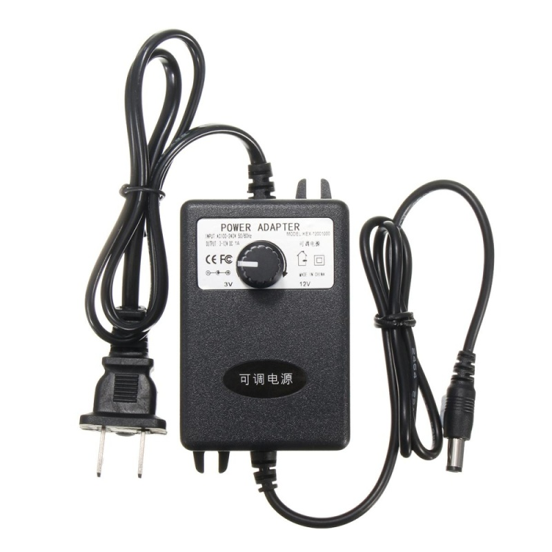 Bảng giá Adjustable AC/DC Adapter 3-12V 1A Power Supply Motor Speed Controller US Plug - intl
