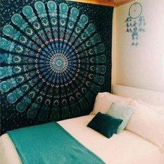 Ai Home 210 cm x 150 cm Boho Tường Thảm Cấp Mandala Cấp Pha Lê Các Mảng Xanh Dương Tường Nghệ Thuật Cấp Ấn Độ trang trí Chăn (Xanh) -quốc tế
