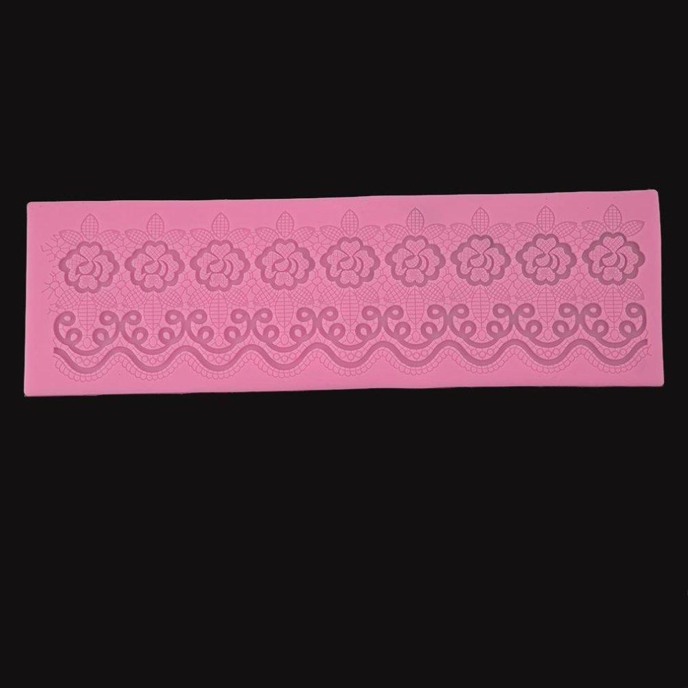Ai Home DIY Silicone Fondant Cake Lace Sugar Craft Party DecoratingMold (Pink) - intl