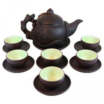 Ấm chén trà Tử sa cao cấp đắp nổi Phù Dung SP130