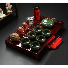 ấm trà sứ cao cấp, có khay đựng phong cách cổ điển truyền thống cung đình (1 bộ như hình)