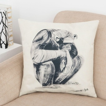 Animal Orangutan Printed Cotton Linen Pillowcase Waist Cushion Throw Pillow Cover Home Decor - intl