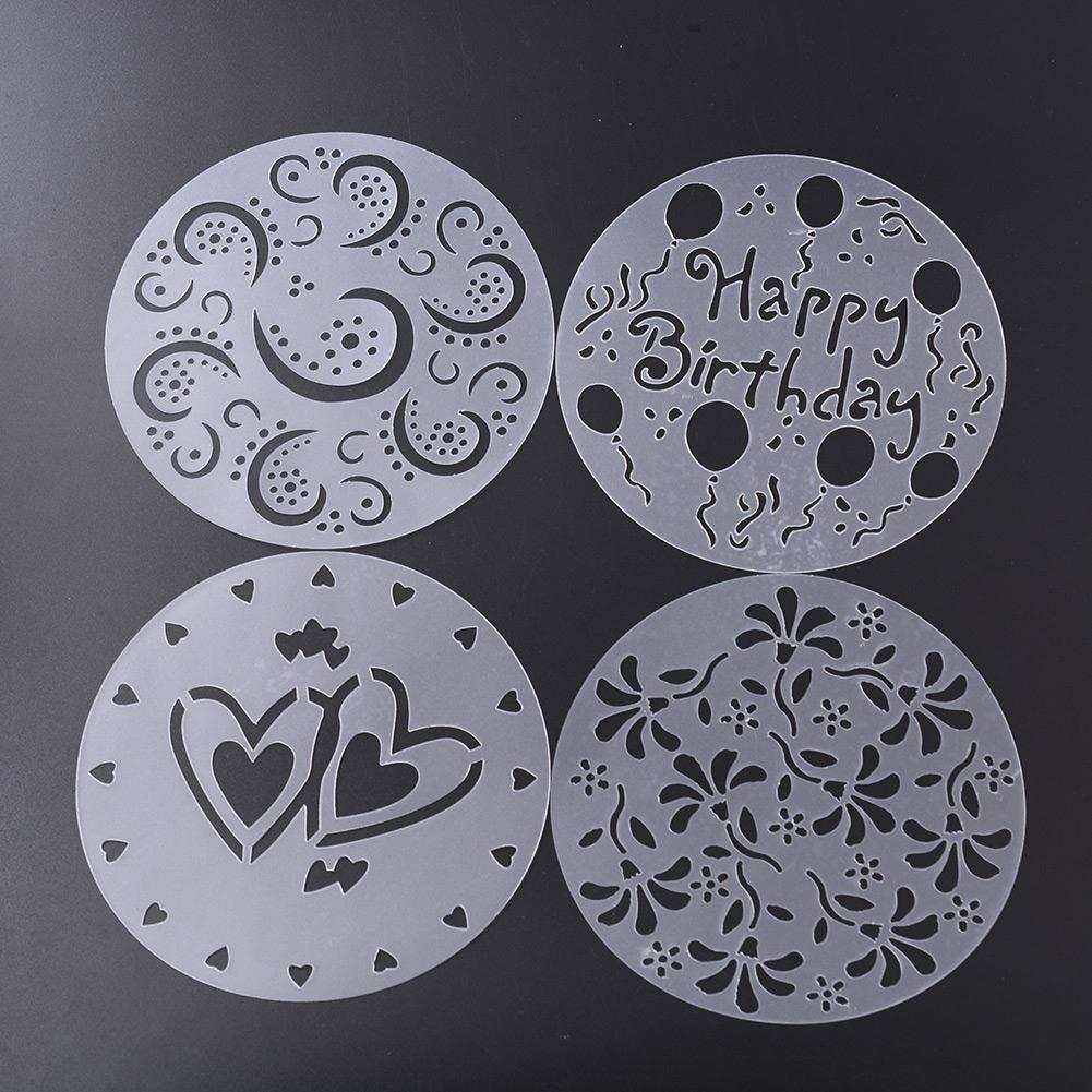 Aukey Eco Friendly Flower Heart Cake Print Stencils Mold DecoratingMode Bakery