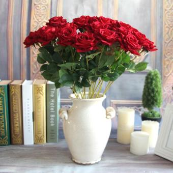 Aukey Valentine's Rose Artificial Fake Flower Room WeddingHydrangea Decor(Red)