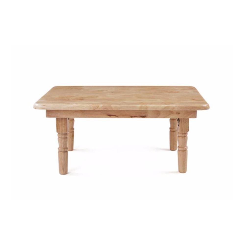Bàn trà gỗ cao su chân tiện 70×50 (Màu tự nhiên)