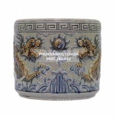 Bát hương hàng gốm sứ Bát tràng đắp Rồng nổi men rạn cổ đường kính 16cm