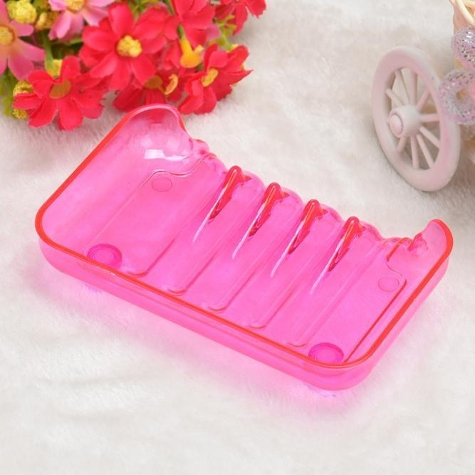 Hình ảnh Bathroom Shower Soap Box Dish Storage Plate Tray Holder Case Suction Hot Pink - intl