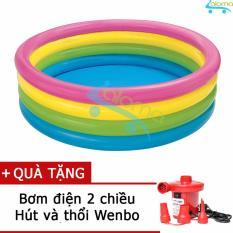 Bể bơi bơm hơi 1,7m 4 tầng cầu vồng Intex 56441 tặng bơm điện