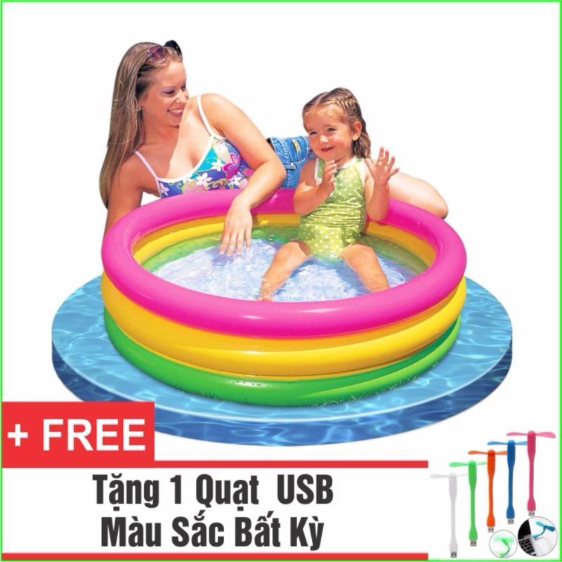 Bể Bơi Phao Cho Bé INTEX Cầu Vồng - Loại 3 tầng 1m14 + Tặng 1 Quạt USB tiện dụng