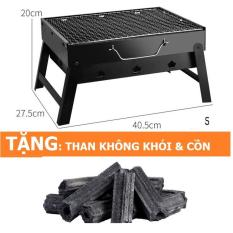Bếp nướng thịt BBQ + Than hoa gỗ nhãn không khói 1kg (Hình chữ nhật)