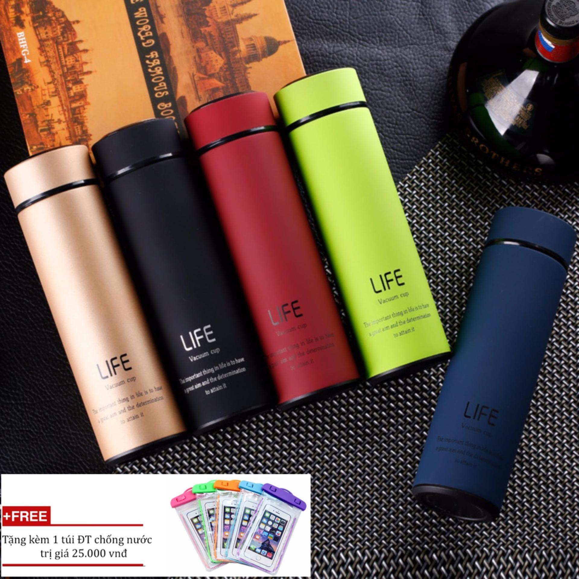 BÌnh giữ nhiệt cao cấp giá rẻ 450ml/bình giữ nhiệt inox 304 (Màu ngẫu nhiên) + Tặng túi ĐT chống nước