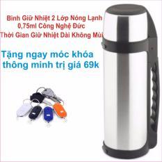 Bình giữ nhiệt nóng lạnh 0,75 Lít công nghệ Hàn Quốc giữ nhiệt được lâu và không mùi +Tặng Đèn siêu Sáng
