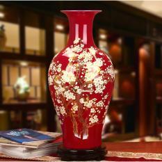 Bình hoa gốm sứ Cảnh Đức chất lượng cao màu đỏ họa tiết cành hoa, MS sjy208