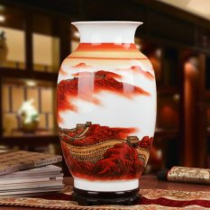 Bình hoa gốm sứ Cảnh Đức men thanh bạch sứ, họa tiết vạn lý trường thành tuyệt đẹp, MS hhz010