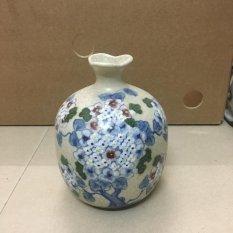 Bình hoa trang trí Bát tràng vẽ hoa xanh size L(cao 19cm)