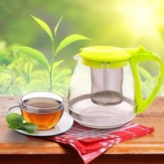 Bình lọc trà, cafe thuỷ tinh Clever Mart tiện dụng 700ml (Nắp xanh) + Tặng bộ 10 đôi đũa tre Cao Phong