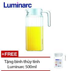 Bình nước thủy tinh Luminarc Quadro 1.1L G2666 + Tặng 01 bình Quadro 0.5L