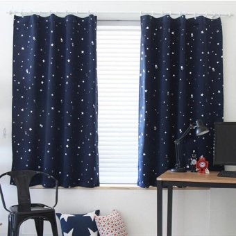 Blackout Thermal Solid Window Curtain Dark blue (Intl)