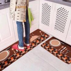 Bộ 02 thảm nhà bếp Hình Thìa Dĩa (40 x 60 và 40 x 120 cm) _ Nâu đỏ