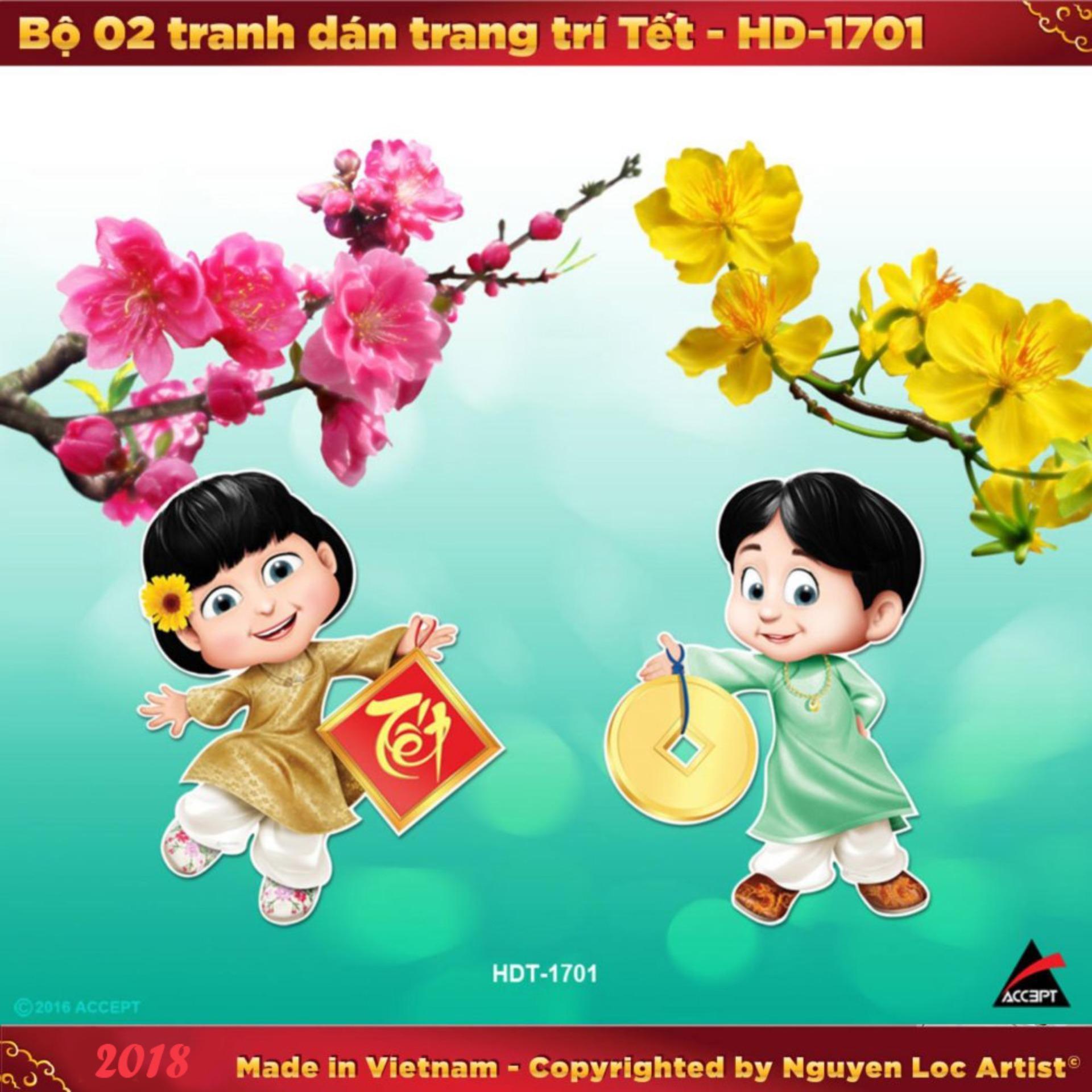 Trang bán Bộ 02 tranh dán trang trí Tết 2018 HDT1701