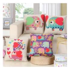 Bộ 04 vỏ gối vuông trang trí sofa họa tiết voi thổ cẩm
