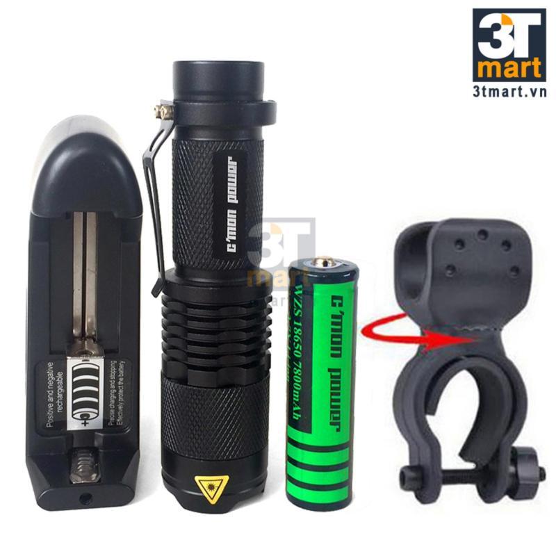 Bảng giá Bộ 1 đèn pin siêu sáng C'MON POWER TRAVELER XML-T6 LED 10W 1400lm chiếu xa 300m + 1 pin sạc lithium 7800mAh + 1 cục sạc + giá đèn pin xe đạp (đen)