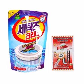 Bộ 1 gói bột tẩy lồng máy giặt Hàn Quốc 450Gr và 1 gói bột thôngtắc cống,ống nước xuất khẩu 100Gr SM575