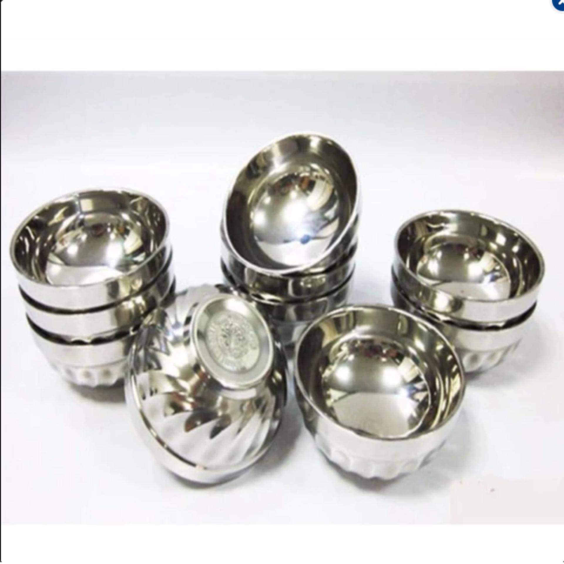 Bộ 10 bát cơm inox Hoàng Gia 2 lớp cách nhiệt_11.5cm_(Bạc)