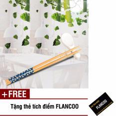 Bộ 10 đôi đũa tre kiểu Nhật in hoa cao cấp Flancoo S1321 (Xanh đen) + Tặng kèm thẻ tích điểm Flancoo