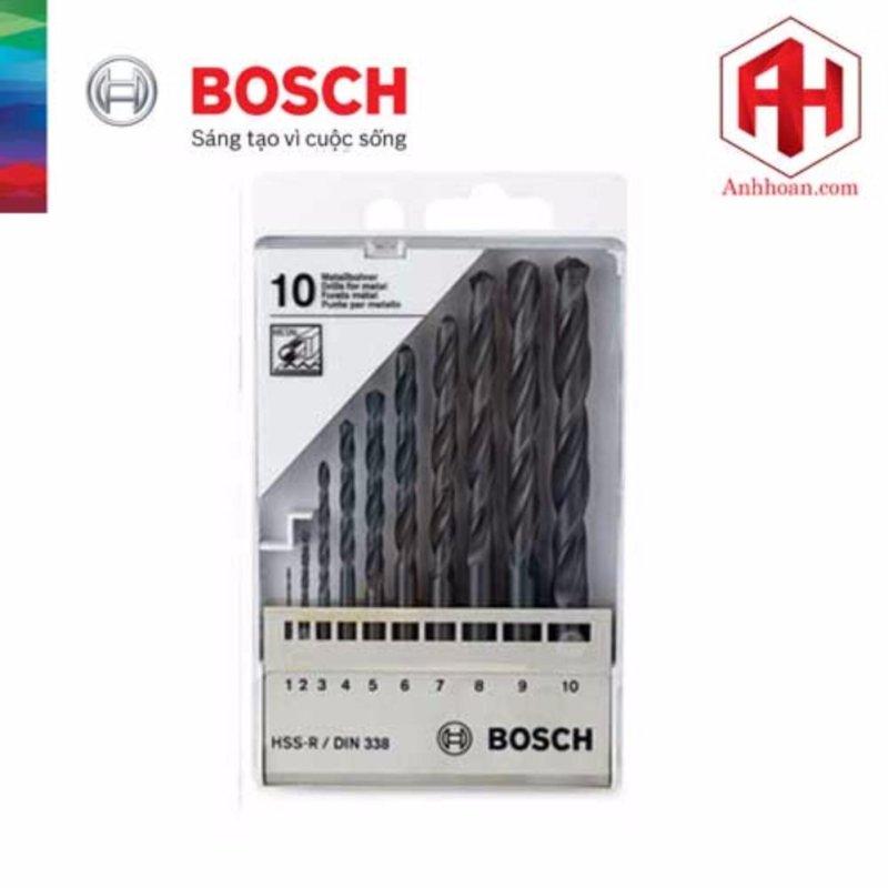 Bộ 10 mũi khoan Bosch HSS-R DIN338 (1-10mm)