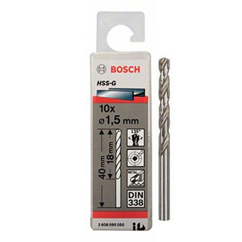 Bộ 10 mũi khoan sắt HSS-G 1.5 mm