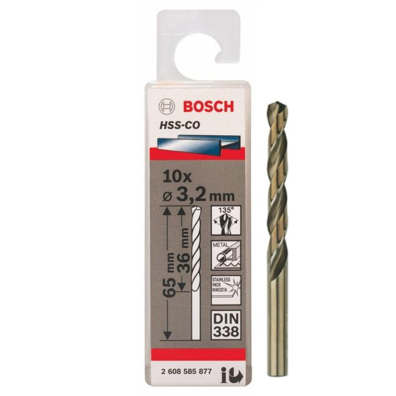 Bộ 10 mũi Sắt và INOX HSS-Co 3.2 mm