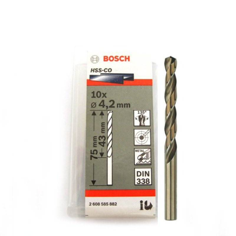 Bộ 10 mũi Sắt và INOX HSS-Co 4.2 mm