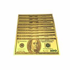 Bộ 10 tiền usd mạ vàng 100 đô la