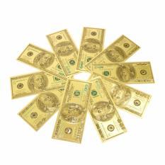 Bộ 10 tờ tiền 100 Usd plastic 2 mặt lì xì tết 2018 Kmdeal (Vàng)