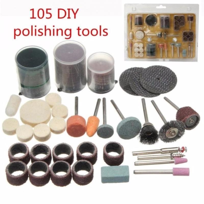 Bộ 105 món đồ nghề phụ kiện cắt, mài, chà, đánh rỉ sét, đánh bóng cho khoan điện đa năng mini cầm tay (như Dremel, ACZ, motor 775...) - Luân Air Models