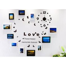 Bộ 11 khung hình Diachire treo tường trái tim + Tặng Decal LOVE và Đồng hồ DIY(Trắng đen)