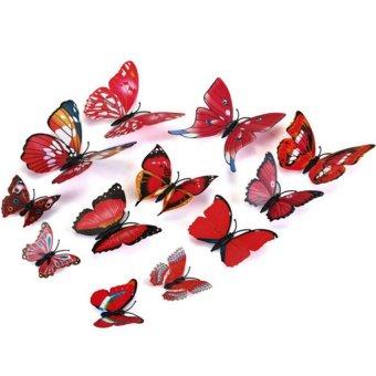Bộ 12 bướm 3D dán tường hoặc trang trí tủ lạnh (Đỏ)