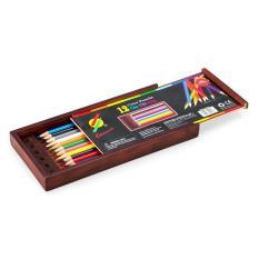 Bộ 12 cây bút chì màu thường, hộp gỗ, Colormate