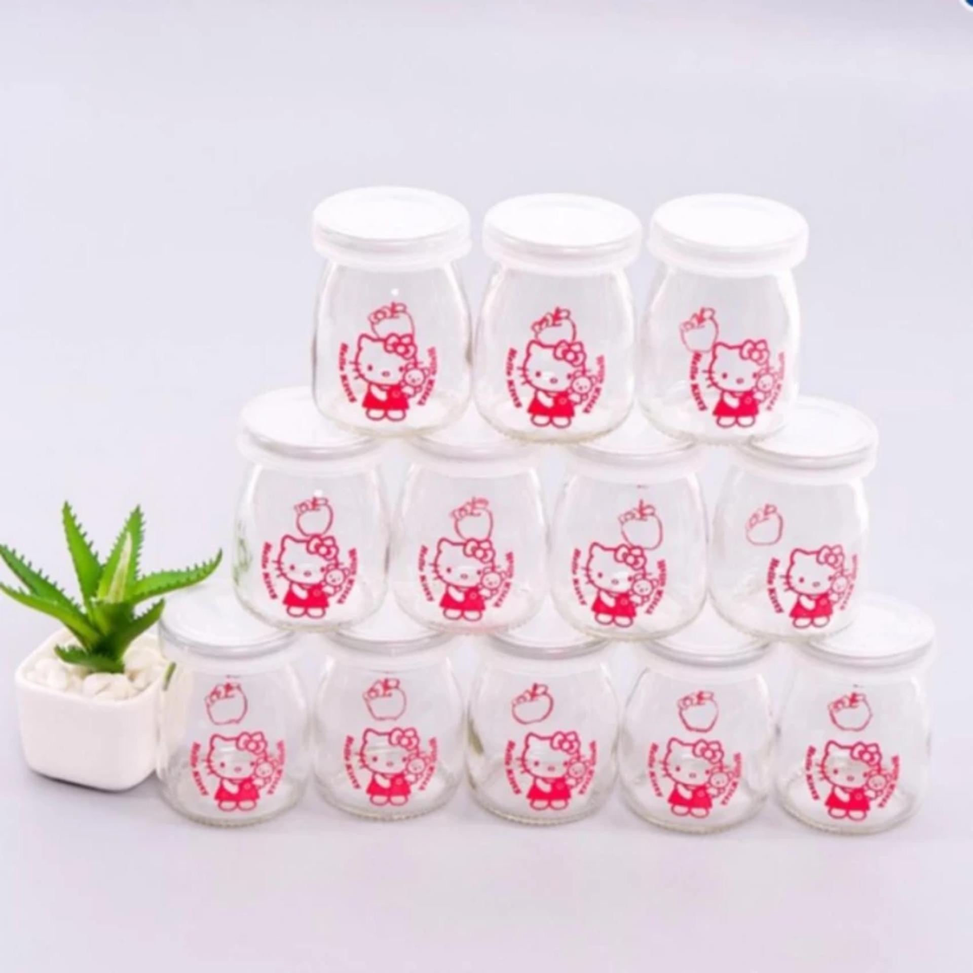 Bộ 12 cốc làm sữa chua thủy tinh họa tiết có nắp chụp